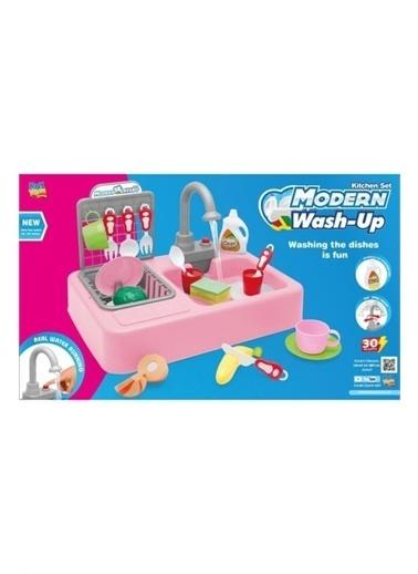 Kayyum Oyuncak Kayyum Oyuncak Modern Mutfak Lavabo Seti Pilli Sulu Çeşmeli Oyuncak Set Renkli